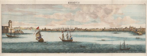 Rhodes: Panoramic view towards the Fort of St Nicholas and the Aegean.