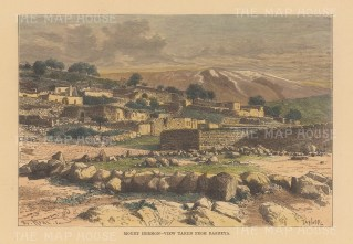 "Reclus: Rasheya. 1894. A hand coloured original antique wood engraving. 8"" x 6"". [MEAST1654]"