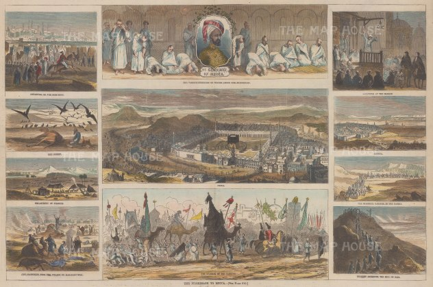Mecca: Scarce panoramic view of Mecca with 11 vignettes to include Medina and the Great Imam of Mecca.