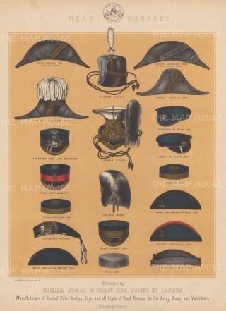 "Jones & Co: Head Dress. c1886. An original antique chromolithograph. 13"" x 18"". [MILp137]"