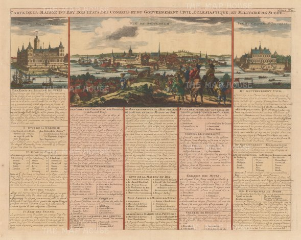 Panorama of Stockholm and views of the King's Palace and Jacobstal. With French text describing the government and court.