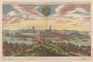 """Merian: Stockholm, Sweden. c1670. A hand coloured original antique copper engraving. 13"""" x 9"""". [SCANp317]"""