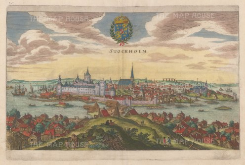 "Merian: Stockholm, Sweden. c1670. A hand coloured original antique copper engraving. 13"" x 9"". [SCANp317]"