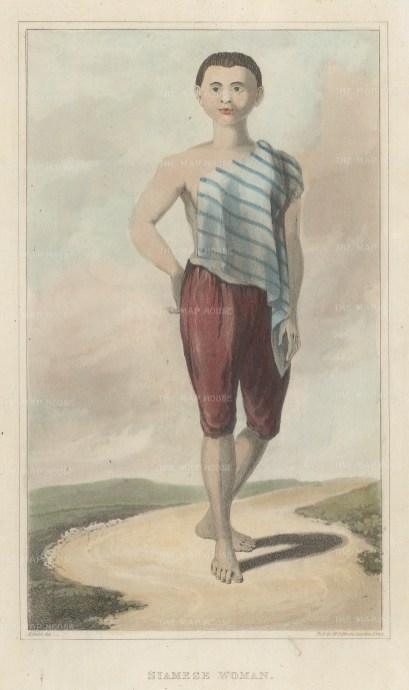 "Crawfurd: Siamese Lady. 1830. A hand coloured original antique mixed method engraving. 5"" x 8"". [SEASp1630]"