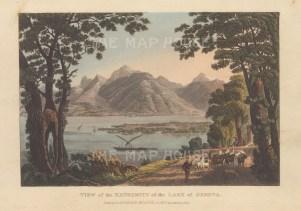 "Ackermann: Lake Geneva, Switzerland.1820. An original colour antique aquatint. 9"" x 6"". [SWIp759]"