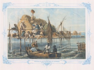 Cuba: Nuevitas Bay. Sponge fishermen in front of their home on stilts, mending their boat. With Blue decorative border. From the 2nd 'pirate' edition by Bernardo May