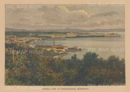 "Reclus: Port au Prince, Martinique. 1894. A hand coloured original antique wood engraving. 7"" x 5"". [WINDp1225]"