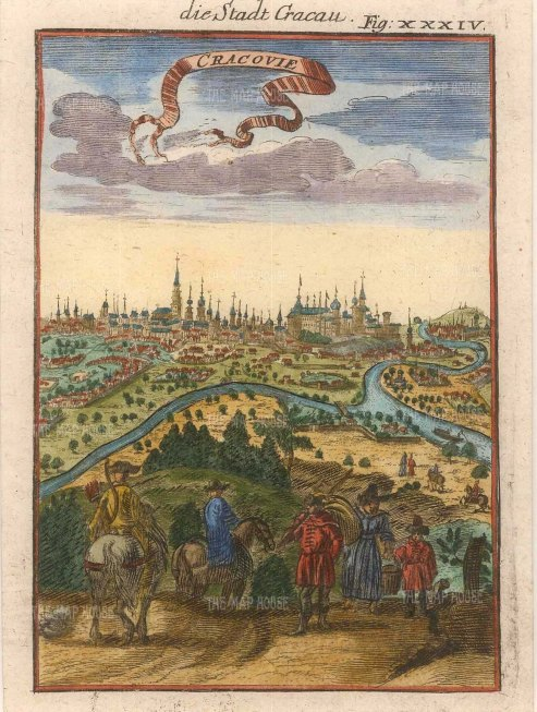 """Mallet: Cracow. Poland. 1719. A hand coloured original antique copper engraving. 4"""" x 6"""". [CEUp391]"""