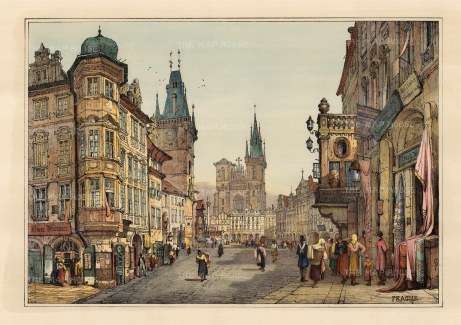 View of Old Town Square with the Town Hall on the left and Our Lady of Tyn Church.