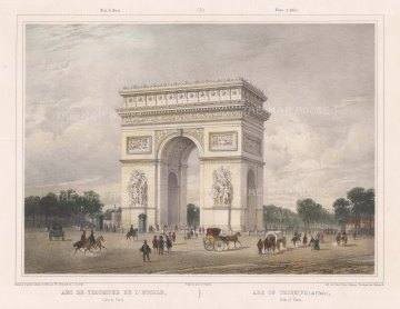 "Benoist: Arc de Triomphe. c1860. A hand coloured original antique lithograph. 16"" x 12"". [FRp1221]"