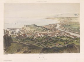 Nice: Bird's eye view from Mont Alban towards the Baie des Anges.