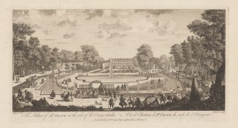 "Sayer: Chateau de Saint-Cloud. 1774. An original antique copper engraving. 18"" x 10"". [FRp1575]"