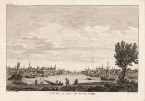 Novogorod: Panoramic view of the city from the centre of the Volkhov River. After Mikhail Makhaev.
