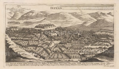 Erevan (Irivan): Bird's eye view with key of the capital before the earthquake of 1679.