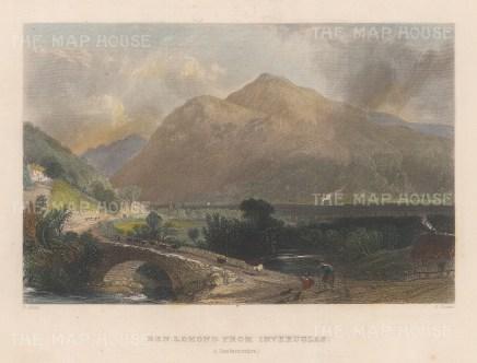 "Allom: Ben Lomand. 1836. A hand coloured original antique steel engraving. 8"" x 6"". [SCOTp1700]"