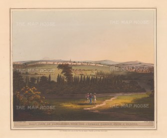 Bangalore: East view of the city with the Labagh Botanical Gardens during the Third Mysore War (1792).