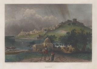"Virtue: Sayda. 1838. A hand coloured original antique steel engraving. 8"" x 5"". [MEASTp1665]"