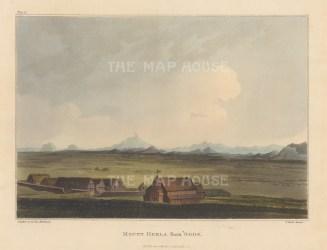 """Mackenzie: Mount Hekla from Odde, Iceland. 1811. An original colour antique aquatint. 7"""" x 5"""". [SCANp364]"""