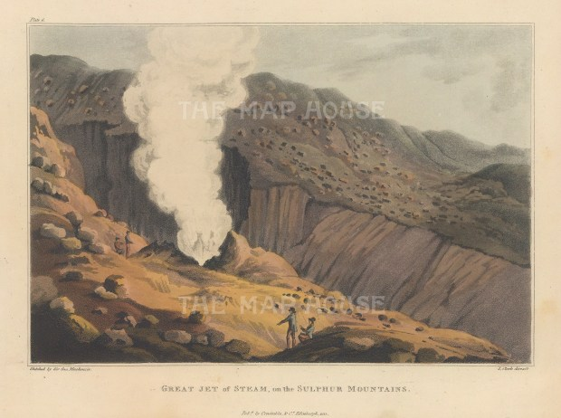 View of a steam jet. Rare view sketched by Mackenzie on his geological expedition to Iceland with explorer Henry Holland and physician Richard Bright.