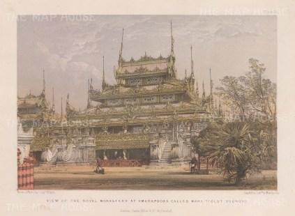 Amarapura. View of the Royal Monastary, later moved to Mandalay and called Shwenandaw.