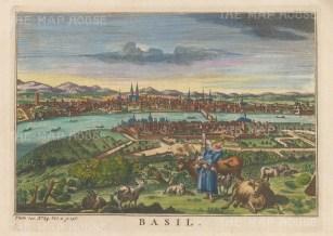 "Salmon: Basel, Switzerland. 1759. A hand-coloured original antique copper engraving. 10"" x 6"". [SWIp790]"