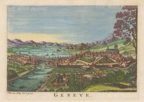 "Salmon: Geneva, Switzerland. 1759. A hand coloured original antique copper engraving. 10"" x 6"". [SWIp791]"