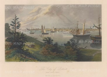 "Picturesque America: Detroit, Michigan. c1872. A hand-coloured original antique steel engraving. 9"" x 6"".[USAp4935]"