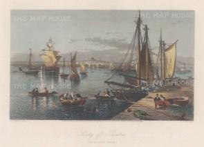 "Picturesque America: Boston, Massachusetts. 1872. A hand-coloured original antique steel engraving. 9"" x 6"". [USAp4953]"