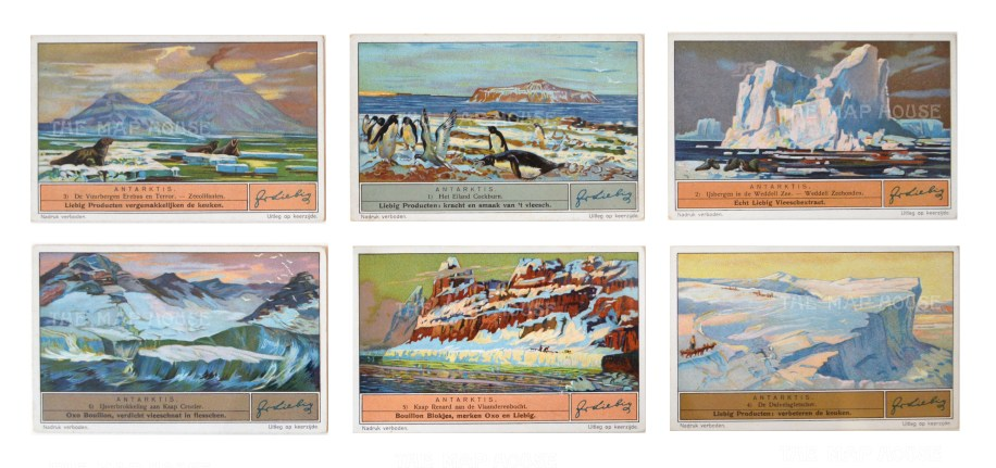 Franklin Expedition 1845-6: Six cards. Elephant seals, Cockburn Island, Weddell Sea, Cape Crozier, Cape Renard and Duivel's glacier. Framed
