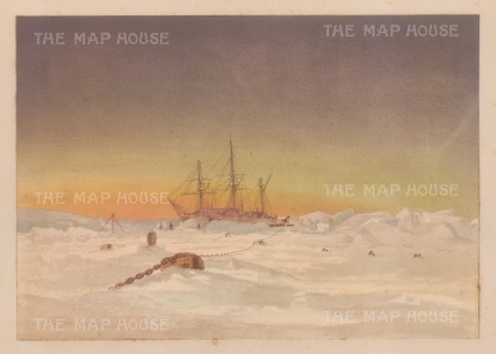 View of HMS Alert at sunset. From the Expedition of H.M.S.Alert 1875/77.