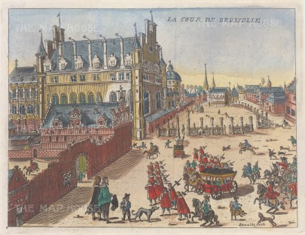 "van der Aa: Brussels, Belgium. c1700. A hand coloured original antique copper engraving. 7"" x 6"". [BELp265]"