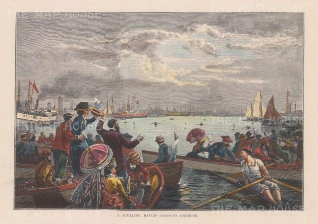 """Picturesque Canada: Toronto Harbour. 1867. A hand coloured original antique wood engraving. 9"""" x 6"""". [CANp669]"""