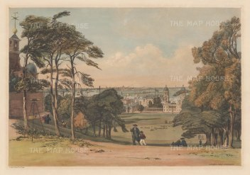 Panorama from Greenwich Observatory: Classic view from Flamsteed House, below the Wolfe statue, over the Thames and the Isle of Dogs to the City and St Paul's.