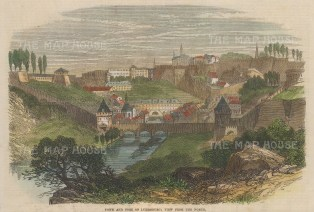 "Illustrated London News: Luxembourg. 1867. A hand coloured original antique wood engraving. 10"" x 7"". [LUXp17]"