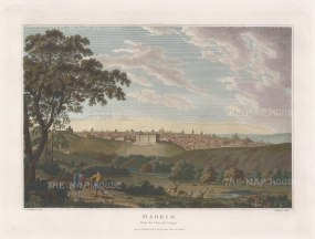 "Swinburne: Madrid. 1808. A hand coloured original antique copper engraving. 16"" x 12"". [SPp1073]"