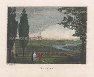 "Swinburne: Seville. 1806. A hand coloured original antique copper engraving. 16"" x 12"". [SPp1090]"