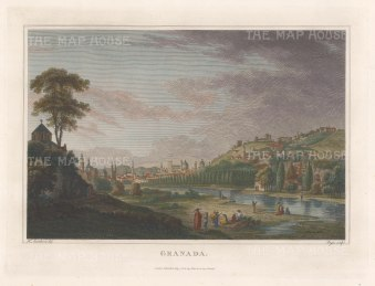 "Swinburne: Granada. 1808. A hand coloured original antique copper engraving. 17"" x 13"" [SPp750]"