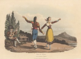 "Bradford: Bolero dancers. 1809. An original hand coloured antique aquatint. 13"" x 9"". [SPp787]"