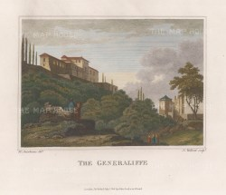 "Swinburne: Generalife, Granada. 1808. A hand coloured original antique copper engraving. 12"" x 10"". [SPp964]"