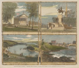 "Illustrated London News: Richmond, Virginia. 1861. A hand coloured original antique wood engraving. 9"" x 6"". [USAp4956]"