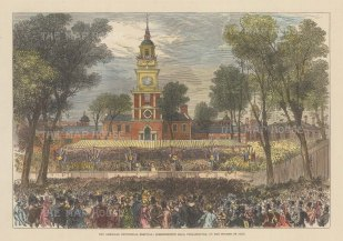 Independence Hall on the fourth of July.