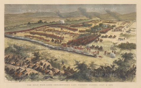 Battle of Ulundi: 15,000 Ingobamkhosi led by Uumntwana Ziwedu Kampande were defeated by some 4,000 infantry and cavalry under Lord Chelmsford. Anglo-Zulu War.