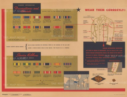 WWII: American Military Decorations, Awards and Service Ribbons. With description of appropriate protocols and dress.