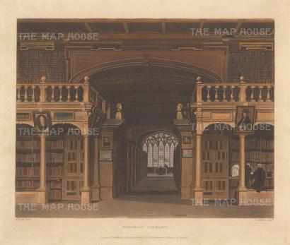 "Ackermann: Bodleian Library, Oxford. 1814. An original colour antique aquatint. 11"" x 8"". [OXONp360]"