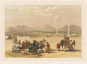 Kandahar: View of an encampment with the city in the distance. First Anglo-Afghanistan War.