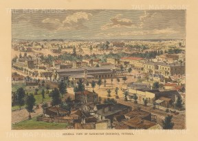 Reclus: Sandhurst (Bendigo). 1894. A hand coloured original antique wood engraving. [AUSp736]