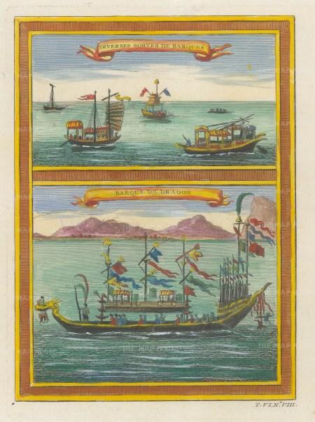 "Bellin: Dragon boat and Sampans. 1748. A hand coloured original antique copper engraving. 6"" x 8"". [CHNp1129]"