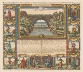 Xensi: View of an archway of the Great Wall over the Yellow river. With 11 portraits of men and women in traditional dress. Text in French.