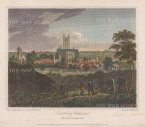"""Storer: Canterbury Cathedral. 1816. A hand coloured original antique steel engraving. 8"""" x 6"""". [ENGp342]"""