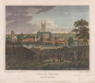 """Storer: Canterbury Cathedral, Kent. 1816. A hand coloured original antique steel engraving. 8"""" x 6"""". [ENGp342]"""